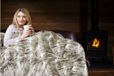 Relaxwell Deluxe Alaskan Husky Faux Fur Heated Throw
